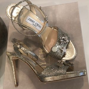 Jimmy Choo Electra 100 High Heel w/Jeweled Buttons